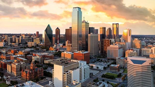 Beautiful Dallas Skyline Private jet Dallas