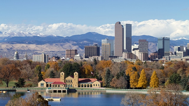 Scenic Denver Skyline Private jet charter Denver
